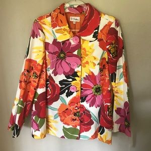 NWT 3 Sisters Floral Swing Coat